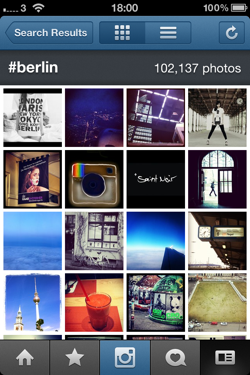The #berlin hashtag stream on Instagram