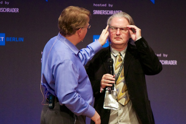 Bruce Sterling tries on Google Glass at NEXT Berlin
