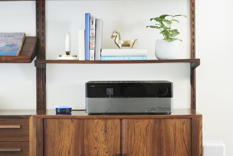 Echo Dot on a shelf with a speaker