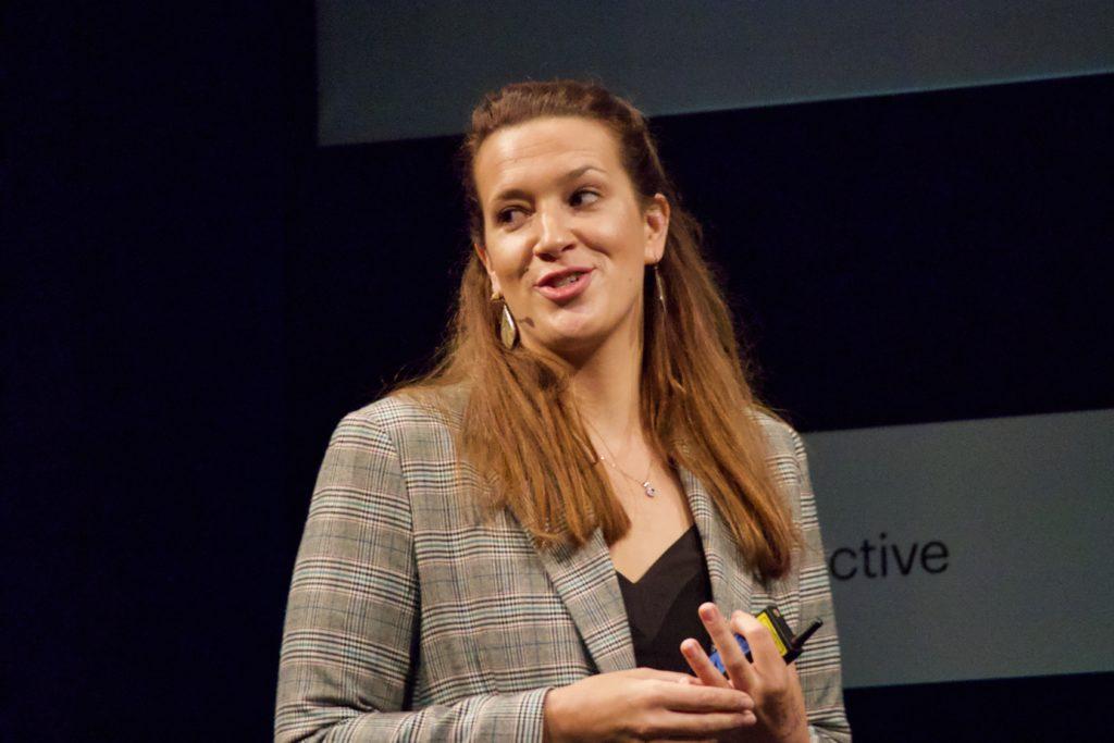 Eliza Filby talking at NEXT19 in Hamburg